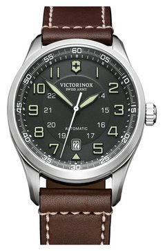 Victorinox Swiss Army 'Airboss' Automatic Leather Strap Watch