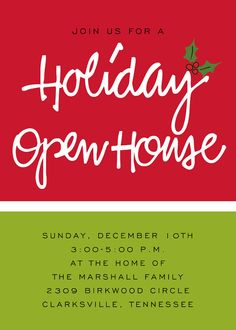 Holiday Christmas Open House Party Invitations Christmas Party