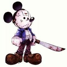 Mickey Mouse // Jason // Friday the // Disney Mash-Up Zombie Disney, Princesas Disney Zombie, Creepy Disney, Disney Horror, Horror Cartoon, Horror Icons, Cartoon Art, Horror Films, Dark Disney