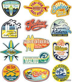 California vintage stickers grunge collection - Buy this stock vector and explore similar vectors at Adobe Stock Surf Stickers, Tumblr Stickers, Surfboard Stickers, Logo Stickers, Image Surf, Badge Design, Logo Design, Diy Design, Vintage Sticker