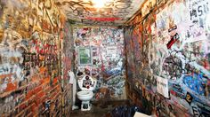The graffitied bathroom walls of legendary punk rock club CBGB. In its heyday in the 1970s and `80s the club helped define the punk and new wave sound. The Ramones, Misfits, Television, Patti Smith, Mink DeVille, The Fleshtones, The Voidoids, The Cramps, Blondie and Talking Heads started their careers at the club.