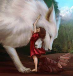 Gentle to her. No beating, kicking, Or shooting her Anime Wolf, Wolf Spirit, Spirit Animal, Fantasy Kunst, Fantasy Art, Beautiful Wolves, Animals Beautiful, Fantasy Creatures, Mythical Creatures