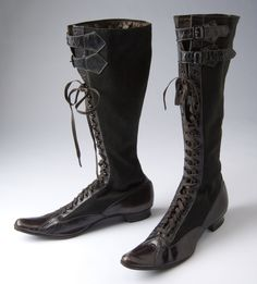 Circa 1890-1899 ladies high lace-up bicycle boots.