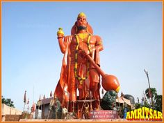 80 feet height tallest statue of Ramdoot Hanuman located at Ram Tirath Temple; Amritsar city belongs to Amritsar district in the Indian state of Punjab. The temple is located at a distance of 11 kms to the west on Chogawan Road in Amritsar city. The city is situated in northen Punjab state lies about 25 kms east of the Wagah Border with Pakistan. Ram Tirath Temple is the place where Mata Sita gave birth to Luv and Kush in Maharishi Valmiki's hermitage dates back to the period of Ramayan.