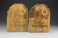Custom Cut TreeHouse Cutting Board with Full Size Engraved Logo