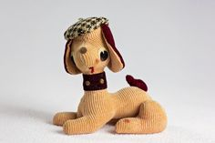 vintage stuffed dachshund / stuffed animal dog with beret; made in Japan Hounds Tooth, Dachshund, Sale Items, Pet Dogs, Teddy Bear, Berets, Fur, Japan, Black And White