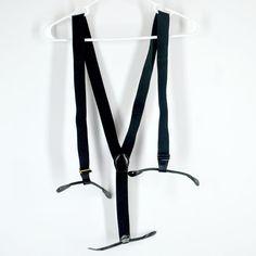 Vintage Suspenders  Black Elastic Button On by BlackRockMens, $9.00