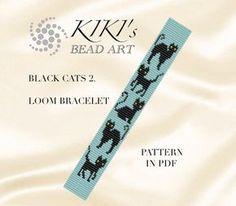 Halloween SALE Bead loom pattern Black cats II. Loom bracelet pattern PDF - instant download par KikisBeadArts sur Etsy https://www.etsy.com/fr/listing/276350300/halloween-sale-bead-loom-pattern-black