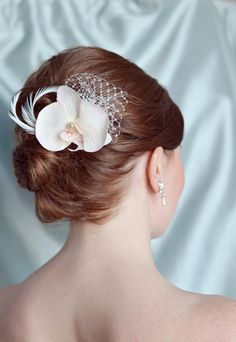 $35.00 - Orchid Hair Clip Wedding Hair Accessories Blush by EternalEden from Etsy.
