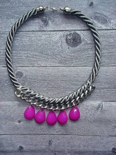 Plum Statement  Rope Necklace / Summer necklace/ Braided rope necklace