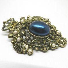 Blue Brooch - Vintage, Gold Tone, Rich Blue Cabochon, Faux Pearls Pin by MyDellaWear on Etsy