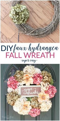 Fall Wreath (with faux hydrangeas - SUPER easy!) So easy and cute! Love this DIY Faux Hydrangea Fall Wreath!So easy and cute! Love this DIY Faux Hydrangea Fall Wreath! Diy Fall Wreath, Fall Diy, Wreath Ideas, Dyi Fall Decor, Easy Fall Wreaths, Fall Door Decorations, Spring Wreaths, Wreath Crafts, Holiday Wreaths