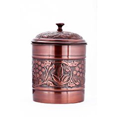Old Dutch Antique Embossed Heritage 4 Quart Cookie Jar - Bring a quaint touch to your kitchen counter with this antique-copper finish cookie jar from Old Dutch. Featuring four quarts of storage and an ultra-tight lid, this steel jar keeps your favorite treats fresh and on hand in beautiful style.  http://www.overstock.com/Home-Garden/Old-Dutch-Antique-Embossed-Heritage-4-Quart-Cookie-Jar/7018379/product.html?CID=214117 $29.99