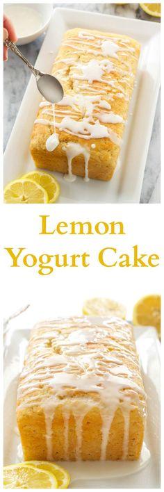 Lemon Yogurt Cake | A moist lemon loaf cake made healthier thanks to Greek yogurt!  via @Danae | Recipe Runner