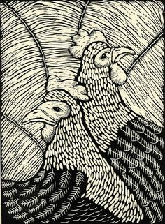 linocut print/Pecking Order/printmaking/hens/black and white/monochrome/original art/farmyard/farm/rustic decor/feathers/ferns/birds
