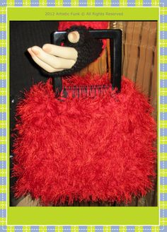 Red Handbag Cotton & Fun Fur With A Sturdy 100 by ArtisticFunk, $45.00