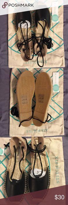 Selling this New Saludos wrap up espadrille in black size 6 on Poshmark! My username is: kansaspokerwife. #shopmycloset #poshmark #fashion #shopping #style #forsale #saludos #Shoes
