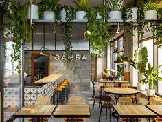 Samba cafe interior on Behance Bistro Interior, Bakery Interior, Restaurant Interior Design, Commercial Interior Design, Shop Interior Design, Commercial Interiors, Coffee Cafe Interior, Interior Garden, Interior Plants