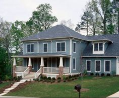 """10 Gorgeous House Siding Colors That Take You Beyond """"Tepid Gray"""" - James Hardie Frosted Green House Siding Options, Siding Colors For Houses, Exterior House Colors, Cottage Exterior, Style At Home, Porch Styles, House Styles, Green House Color, Porch Pillars"""