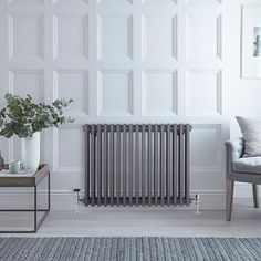 BTU Milano Windsor - Horizontal Triple Column Anthracite Traditional Cast Iron Style Radiator - x Horizontal Radiators, Column Radiators, Solid Brick, Brick And Wood, Concrete Floors, Wooden Flooring, Roof Insulation, Radiator Valves, Windsor