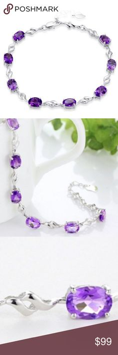 """AMETHYST BRACELET NEW 6 TCW BRIGHT AND FESTIVE OVAL CUT AMETHYST SET IN 925 STERLING SILVER MEASURES APPROX 7.8"""" WITH 1"""" EXTENDER EACH STONE MEASURES APPROX 4MM X 7MM LOBSTER CLASP CLOSURE RETAIL IS $189 includes velvet gift box ALPHA  JEWELRY Jewelry Bracelets"""