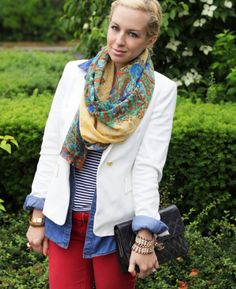Red jeans AND mixed prints! Love.