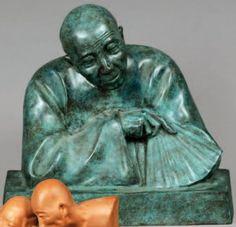 Gaston HAUCHECORNE  « Buste de Chinois à l'éventail ». Épreuve en bronze à patine verte, fonte d'édition, justificatif de tirage n° 3/8. Signée. Haut. 32 cm Date de vente : 30/06/10 Resultat : 550 € Maison de vente: Maigret (Thierry de)