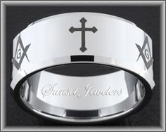 Tungsten Carbide Wedding Ring With Alternating Christian Cross and Square & Compass Masonic Emblems. Free Inside Engraving! Sunsetjewelers.com