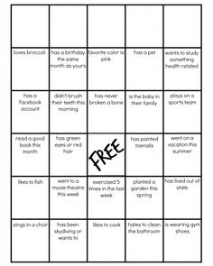 Blank Family Bingo from Let's Get Together