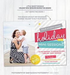 Photography Marketing Board /Holiday Mini Session - Photoshop Template for photographers (DM10) - INSTANT DOWNLOAD