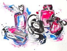 Original Glass Parfume Watercolor Painting - 10 x 14 Still Life Illustration