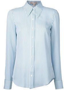 Michael Kors Striped Shirt In White Laced Up Shirt, Sheer Shirt, Contrast Collar Shirt, Donna Pinciotti, Banded Collar Shirts, Hawaiian Print Shirts, Mesh Jacket, Gingham Shirt, Michael Kors Collection