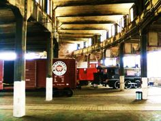 Inside the roundhouse at the Georgia State Railroad Museum, Savannah, Ga, March 31, 2012. #Georgia #trains #Savannah #roundhouse. Photo by Emily Beck.