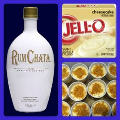 RumChata Cheesecake Pudding Shots 1 small pkg. Cheesecake pudding (instant, not the cooking kind) ¾ Cup Milk ¾ Cup Rumchata 8oz tub Cool Whip  Directions 1. Whisk together the milk, liquor, and instant pudding mix in a bowl until combined. 2. Add cool whip a little at a time with whisk. 3. Spoon the pudding mixture into shot glasses, disposable 'party shot' cups or 1 or 2 ounce cups with lids. Garnish with graham cracker crumbs if desired. Place in freezer for at least 2 hours
