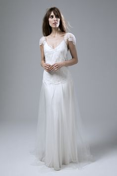 Wedding dress by Halfpenny London | Bridal Fashion by Kate Halfpenny | Soft lace, V front dress, gathered, cap sleeved, soft tulle skirt, satin, slip, french lace, silk tulle. Fifi Dress.