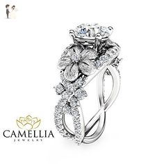 Forever Brilliant Moissanite Ring 14K White Gold Engagement Ring Flower Design Ring with Natural Side Diamonds - Wedding and engagement rings (*Amazon Partner-Link)