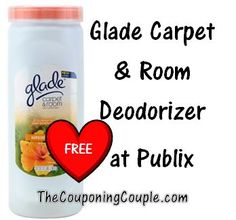 FREE at Publix ~ Glade carpet deodorizer!  Click the link below to get all of the details ► http://www.thecouponingcouple.com/free-glade-powder-at-publix-with-coupon-stack/  #couponcommunity #Coupons #Couponing