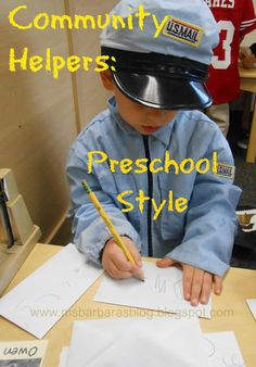 For the Children: Community Helpers: Preschool Style--So many good ideas! Painting with dental floss, remember to give out toothbrushes on dentist day Preschool Social Studies, Preschool Themes, Preschool Lessons, Preschool Classroom, Classroom Ideas, Kindergarten, Preschool Writing, Community Workers, School Community