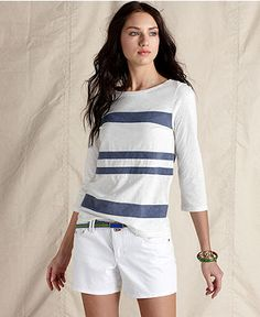 Tommy Hilfiger Top, Bodkin Three Quarter Sleeve Striped Cotton Boatneck - Womens Tops - Macy's