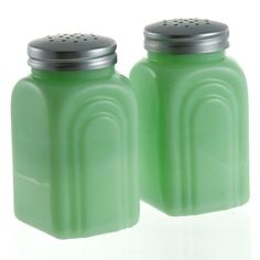 Salt Pepper Shakers Depression Style Glass Green