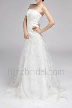 Chiffon Strapless Chapel Train A-line Wedding Dress with Sequins - Alice Bridal
