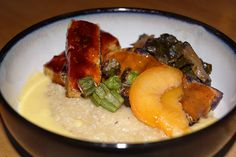 BarBiBimBapQue: beer cooked grits | sous vide corn cob stock | collard greens with shitake mushrooms | smoked tofu gochujang and molasses BBQ sauce | sous vide sweet potato 'bacon' | roasted okra | pickled peaches: Brian Douglas on forum.chefsteps.com.