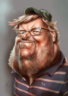 kuonphobos: Michael Moore caricature by Asmaa Adel - www.remix-numerisation.fr - Rendez vos souvenirs durables ! - Sauvegarde - Transfert - Copie - Restauration de bande magnétique Audio - Numérisation vidéo VHS, VHSC, SVHSC, Video8, Hi8, Digital8, MiniDv et Laserdisc