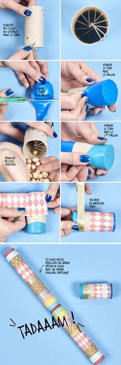 Quelques clous, du making tape, un rouleau cartonné et c'est parti pour fabriquer un bâton de pluie !