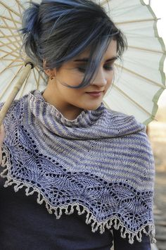 Ravelry: Cladonia pattern by Kirsten Kapur. I love the colour combination, they compliment each other well, overall an exquisite shawl Knitted Cape, Knit Cowl, Cowl Scarf, Knitted Shawls, Knit Crochet, Knitted Scarves, Shawl Patterns, Knitting Patterns, Knit Wrap