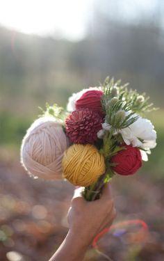 bouquet con la lana per un matrimonio invernale