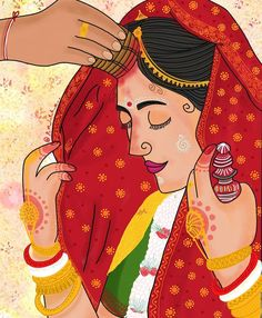 Indian Illustration, Wedding Illustration, Bengali Art, Rajasthani Art, Wedding Couple Cartoon, Wedding Drawing, Romance Art, Cute Boys Images, Madhubani Art