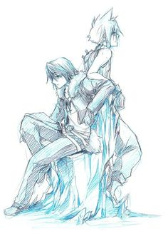 Squall Leonhart and Cloud Strife. Fan art. Final Fantasy VIII and Final Fantasy VII.