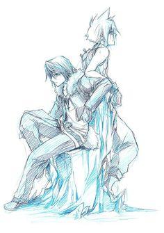 Squall Leonhart and Cloud Strife. Fan art. Final Fantasy VIII and Final Fantasy VII.