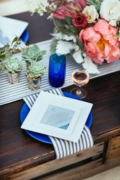 Square plate on round plate + great use of color.